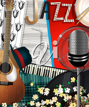 Music Background. Abstract collage  illustration with muscal instruments, jazz card