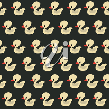 Seamless pattern design with retro rubber ducklings