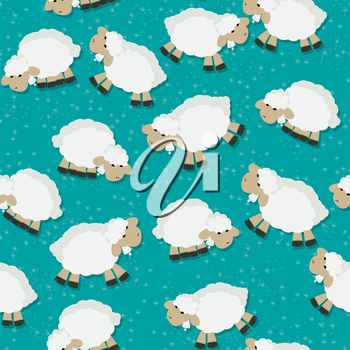 Fantasy seamless pattern design with sheeps on a starry field