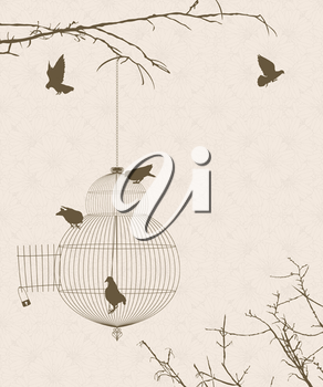 Vintage style card with bird silhouettes and birdcage