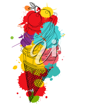 Cherry ice cream outlined over colored spot, vector icon