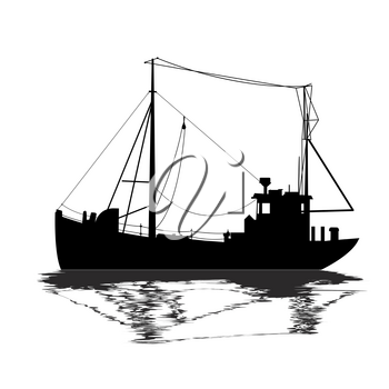 Fishing ship silhouette over white background