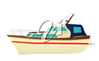 Vector speed boat, yacht over white background