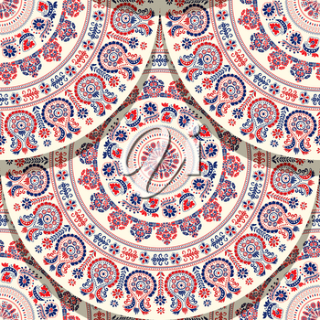 Seamless pattern with Hungarian traditional motif for your design