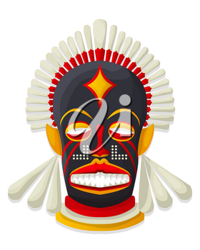Vector decorative tribal mask, isolated object over white background