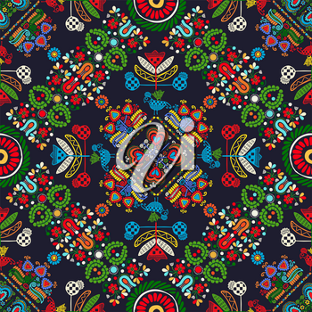 Seamless pattern design inspired by traditional Hungarian embroidery