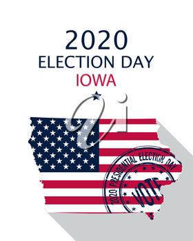 2020 United States of America Presidential Election Iowa vector template.  USA flag, vote stamp and Iowa silhouette
