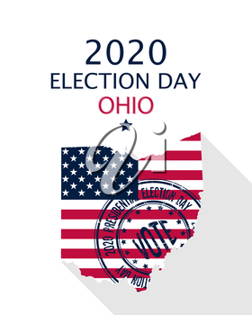 2020 United States of America Presidential Election Ohio vector template.  USA flag, vote stamp and Ohio silhouette