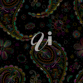 Vector paisley seamless pattern in colors