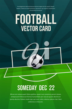 Football, soccer flyer, poster design, sports invitation vector editable template.Ball with football pitch and post background