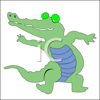 Royalty Free Clipart Image of a Happy Crocodile