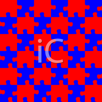 Royalty Free Clipart Image of a Red and BluePuzzle