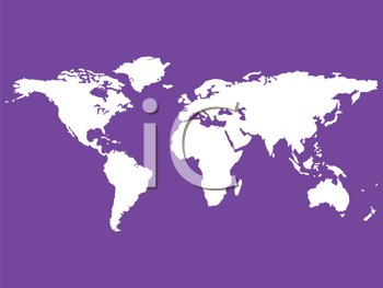 Royalty Free Clipart Image of a Purple Background With White Map