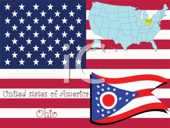 Royalty Free Clipart Image of the State of Ohio and Flag