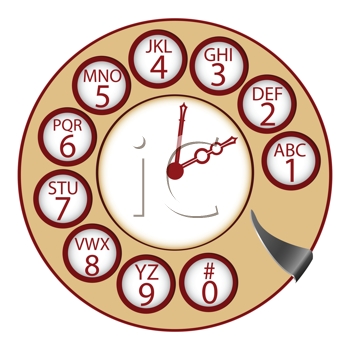 the telephone clock concept, abstract vector art illustration