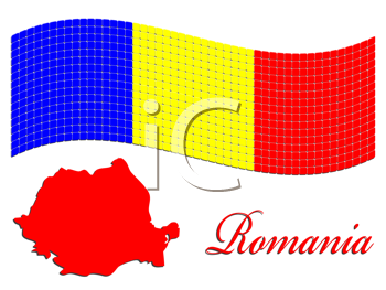 romanian flag and map against white background, abstract vector art illustration