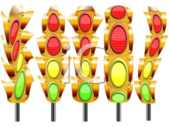 stylized traffic lights with four lights against white background, abstract vector art illustration