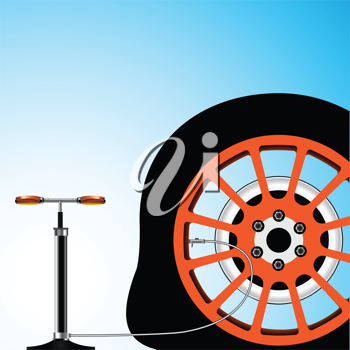 flat tyre, abstract vector art illustration; image contains transparency