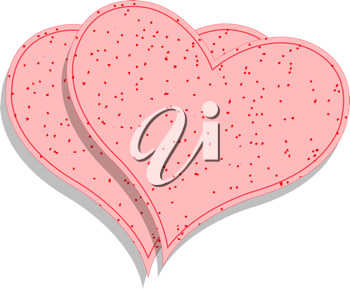 paper pink hearts against white background; abstract vector art illustration