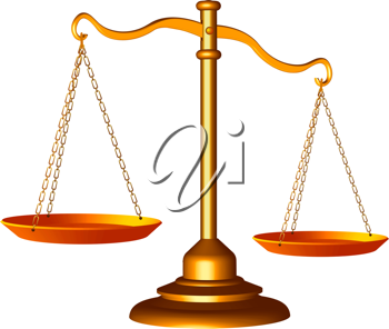 golden scale of justice against white background, abstract vector art illustration