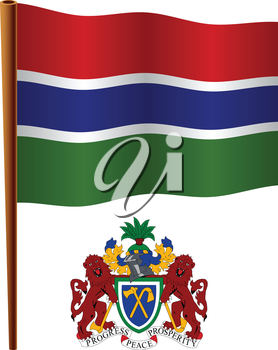 gambia wavy flag and coat of arms against white background, vector art illustration, image contains transparency