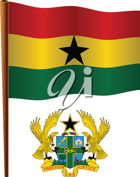 ghana wavy flag and coat of arms against white background, vector art illustration, image contains transparency