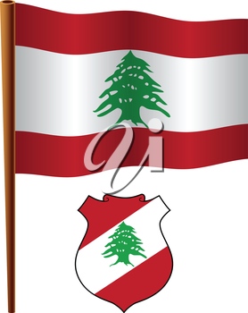 lebanon wavy flag and coat of arm against white background, vector art illustration, image contains transparency