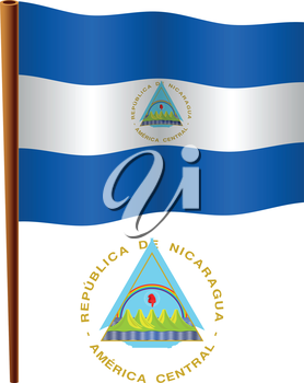nicaragua wavy flag and coat of arms against white background, vector art illustration, image contains transparency
