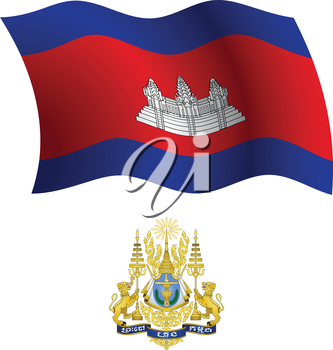 cambodia wavy flag and coat of arms against white background, vector art illustration, image contains transparency