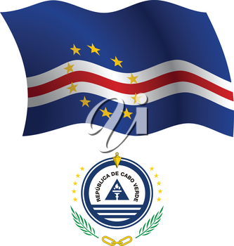 cape verde wavy flag and coat of arms against white background, vector art illustration, image contains transparency