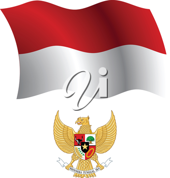 indonesia wavy flag and coat of arms against white background, vector art illustration, image contains transparency