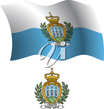 san marino wavy flag and coat of arm against white background, vector art illustration, image contains transparency
