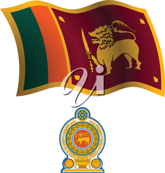 sri lanka wavy flag and coat of arm against white background, vector art illustration, image contains transparency
