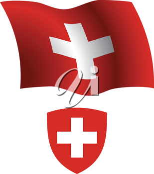 switzerland wavy flag and coat of arm against white background, vector art illustration, image contains transparency