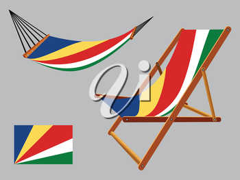seychelles hammock and deck chair set against gray background, abstract vector art illustration