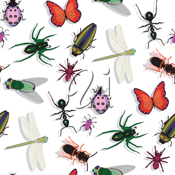 colorful insects pattern, abstract seamless texture, vector art illustration