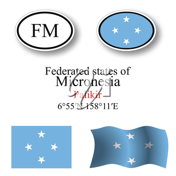 micronesia icons set against white background, abstract vector art illustration, image contains transparency