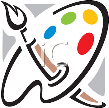 Royalty Free Clipart Image of a Painter's Palette and Brush