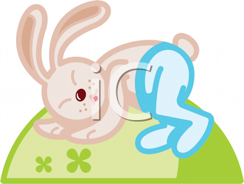Royalty Free Clipart Image of a Sleeping Rabbit