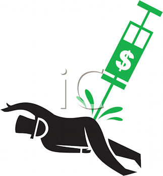 Royalty Free Clipart Image of a Man Getting a Dollar Sign Needle in His Bottom