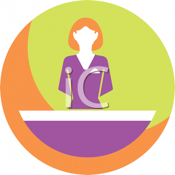 Royalty Free Clipart Image of a Receptionist