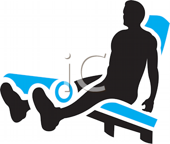 Royalty Free Clipart Image of a Man Exercising His Legs