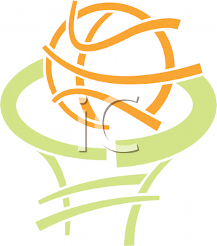 Royalty Free Clipart Image of a Basketball and Net