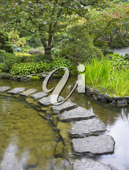 Royalty Free Photo of a Footpath Through a Japanese Pond