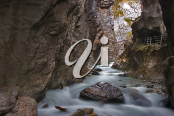 Royalty Free Photo of the Mountain River Aareschlucht in Switzerland