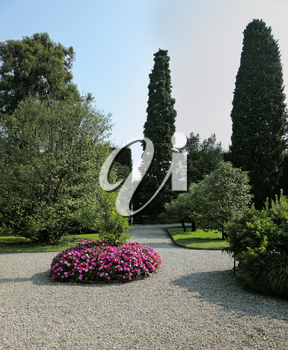 Northern Italy, Lake Maggiore.A masterpiece of landscape art. Bright flower beds in the park on the island of Isola Bella.