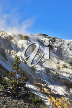 Spring wind above a smoking volcanic hill in Yellowstone national Park
