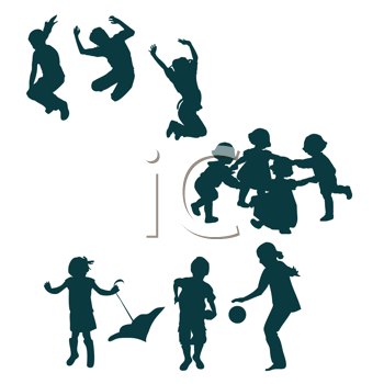 Royalty Free Clipart Image of Three Groups of Playing Children
