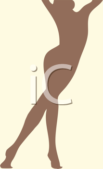 Royalty Free Clipart Image of a Brown Silhouette of a Woman