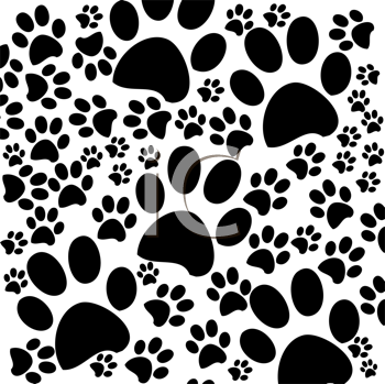 Royalty Free Clipart Image of Black and White Paw Prints